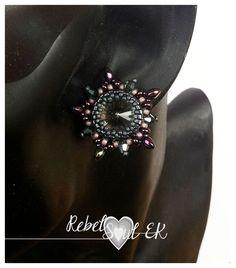 RebelSoulEK earrings grey stars swarovski stud sterling silver 925 bead weawing beadworks