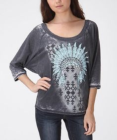 Look what I found on #zulily! Charcoal Tribal Scoop Neck Top by CottyOn #zulilyfinds