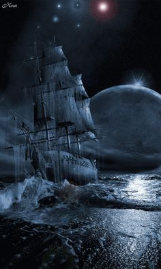 Sailing over the sea. The sea looks like black water♡♡ Images Gif, Gif Pictures, Beau Gif, Bateau Pirate, Foto Gif, Old Sailing Ships, Amazing Gifs, Ghost Ship, Beautiful Gif