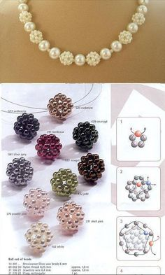 Beebeecraft three color ball-shapped necklace making with pearl beads Bracelet Crafts, Jewelry Crafts, Handmade Jewelry, Beaded Crafts, Beaded Jewelry Patterns, Beaded Bags, Bead Jewellery, Jewelry Making Beads, Bead Weaving