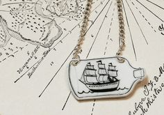 Ship in a Bottle Necklace by Layla Amber Handmade Creations
