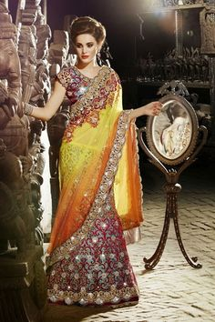 Utsav Fashion : yellow-and-blue-net-and-satin-lehenga-style-saree-with-blouse Wedding Chaniya Choli, Bridal Lehenga Choli, Wedding Lenghas, Ghagra Choli, Lehenga Style Saree, Blue Lehenga, Indian Wedding Outfits, Indian Outfits, Wedding Attire