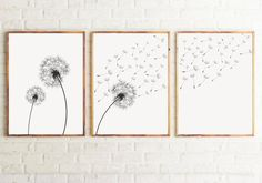 Set of 3 Dandelion Prints, Black and white Minimalist Prints, Dandelion Prints Wall Art, Modern Wall Art. Set of 3 Dandelion Prints, Black and whi Dandelion Wall Art, Bedroom Minimalist, Minimalist Art, Black And White Wall Art, White Prints, Fashion Wall Art, Living Room Art, Modern Wall Art, Modern Prints