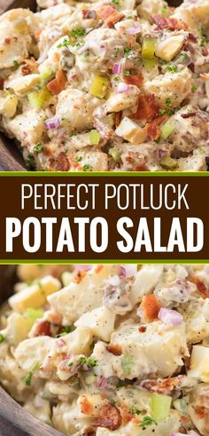 Perfect Potluck Potato Salad This summertime staple is truly my FAVORITE potato salad recipe! Plus tips on how to get the perfect potato texture, prevent a wet potato salad, and how to add extra zing that will make everyone want the recipe! Potluck Recipes, Side Dish Recipes, Summer Recipes, Recipes Dinner, Dessert Recipes, Slow Cooking, Cooking Recipes, Healthy Recipes, Cooking Oil