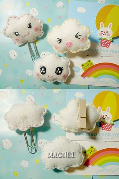 felt clouds paper clip, magnet and clothespin