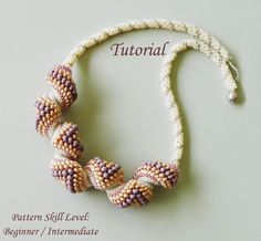 Beading tutorial Cellini spiral - beadweaving pattern beaded seed bead jewelry beadwork necklace  instructions - beadwoven PEACHES AND CREAM