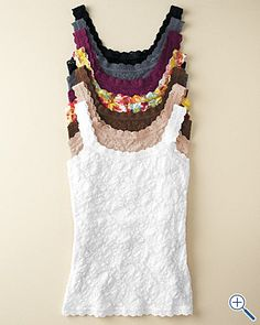 Pretty stretch lace in an exclusive floral pattern adds romantic appeal to this lace-trimmed camisole in a rich palette and a new print. By Hanky Panky. Lace Camisole, New Print, Stretch Lace, Cami Tops, Summer Wear, Bobs, Garnet, Style Me, Womens Fashion