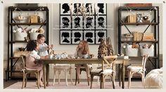 Rustic Elegant Playroom with Chandelier and Wood/Metal Bookshelves - Restoration Hardware