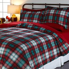 Jeffrey Banks 3-piece Plaid Micro Mink Reversible Comforter Set Red King New #JeffreyBanks