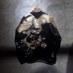 Mens-Black-Sukajan-Souvenir-Jacket-Japanese-Pattern-Embroidered-Vermilion-Bird