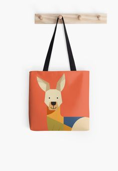 Kangaroo // Tote Bag // This is part of a Wildlife of Australia series which also includes Emu, Wombat, Koala and Platypus // Nursery Animal, Australian Art Print, Australian Animal, Animal Fashion, Australian Wildlife, Animals Nursery, Kangaroo Illustration, Retro Animal, Mid-century Animal, Animal Illustration, Australian Art, Quirky Tote Bag, Australian Kids Poster, Kids Art Print, Nursery Art Print, Apparel, Fashion wear, Animal Bag