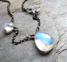 Smooth Rainbow Moonstone Necklace in by karinagracejewelry on Etsy. $49.00, via Etsy.