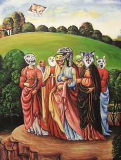 """""""Internet Memes in a Landscape"""" by Hillary White (after del Fora's 'Chaste Women in a Landscape')"""