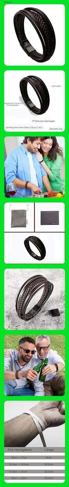 murtoo Herren Armband Edelstahl Echtleder Armband Geflochten Mit Magnet Verschluss (19.00, Leder braun ohne extra Glied) - 14ec
