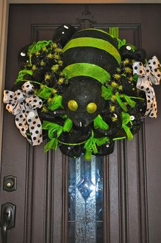 Halloween Wreath, Deco Mesh Wreath, Mesh Wreath, Spider Wreath, Black Wreath, OOAK Wreath, Spider. $105.00, via Etsy.