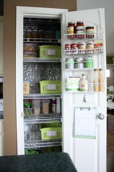 14 Inspirational Kitchen Pantry Makeovers - Home Stories A to Z.  Hang stuff on back of door. Maybe.