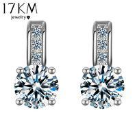 17KM 2017 Dropship Silver Color Crystal Earring Brincos Stud Earring  Rhinestone aretes Pendiente oorbellen Earrings For 0fc8d099560f
