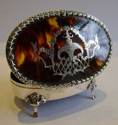 Antique English Sterling Silver and Tortoiseshell Jewelry Box - Pique Inlaid - 1908