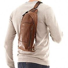Details about Mens Genuine Leather Sling Pack Shoulder Bag Sport ...