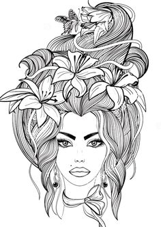 Portrait of a girl with lily flowers and butterfly in her long hair coloring page