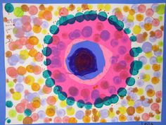 K read the book The Dot, by Peter Reynolds trace circles from cups, tape roll etc glue add pt dots