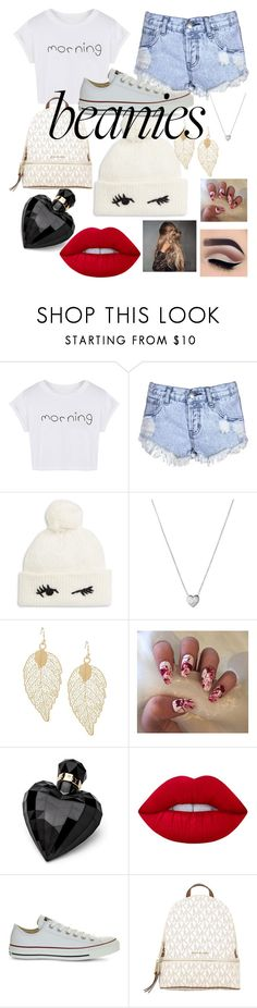 """""""Beanies"""" by maryamsaeed1 ❤ liked on Polyvore featuring WithChic, Glamorous, Kate Spade, Links of London, Lipsy, Lime Crime, Converse and MICHAEL Michael Kors"""