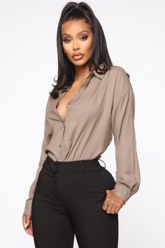 I'm The Boss Button Down Shirt - Taupe – Fashion Nova Business Professional Outfits, Business Casual Outfits, Business Attire, Women's Professional Clothing, Corporate Outfits, Boujee Outfits, Classy Outfits, Fashion Outfits, Women's Fashion