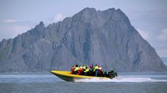 An RIB boating blasts around the Lofoten Islands.