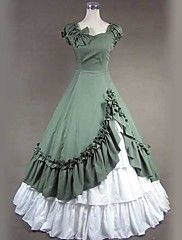 Short Sleeve Floor-length Green Cotton Gohitc L... – USD $ 99.99