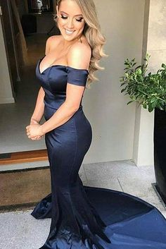 Navy satin sexy mermaid evening dresses,off the shoulder prom dresses