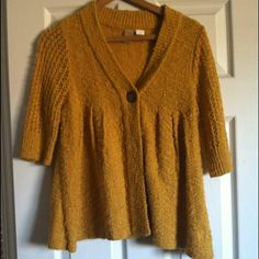 Flowy Billabong mustard color sweater Perfect condition . Has one button , 3/4 length sleeves , perfect paired with a dress or jeans :) color match exactly in the picture ! Billabong Sweaters Cardigans