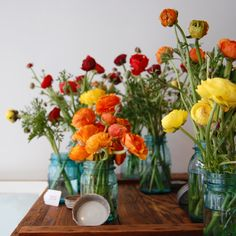 peonies in blue mason jars. don't mind if I do.