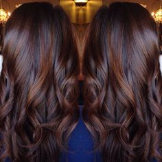 Brunette balayage chocolate red hair style done by . Loose curls perfect for date night Brunette Hair Color, Cinnamon Brown Hair Color, Reddish Brown Hair Color, Brown Hair Colors, Dark Auburn Hair Color, Rich Brown Hair, Cinnamon Hair, Red Hair For Dark Hair, Hair Colors For Winter, Winter Hair Colour