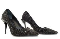 Black Pumps, Black Suede, Versace Shoes, Medusa Head, Crystal Shoes, Black Crystals, Pump Shoes, Palazzo, Stiletto Heels