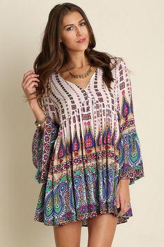 NOELLE Paisley Print Boho Casual Dress