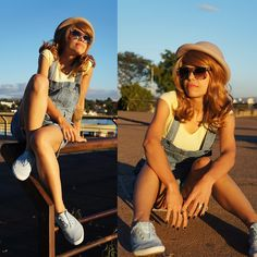 Romwe Denim Jumpsuit, Romwe Colorful Sunnies, Topshop Bowler Hat