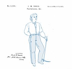 Improvement in Pantaloons. Davis for Levi Strauss Co. Patent Drawing, Levi Strauss & Co, Technical Drawing, History, Drawings, Art, Art Background, Kunst, Gcse Art