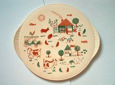 Tortenplatte, Dom-Keramik, 60er Jahre, mit Bauernhof-Motiv