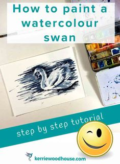 This step by step tutorial will have you using tonal values in painting a watercolour swan in less than an hour. It is a quick fun project that is also tremendously helpful in building the skills you need in your painting arsenal. Watercolor Beginner, Step By Step Watercolor, Step By Step Painting, Easy Watercolor, Watercolor Flowers, Acrylic Painting Tips, Watercolor Painting Techniques, Watercolour Tutorials, Watercolor Paintings