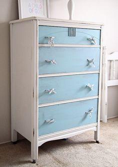 Aqua and White two tone dresser..