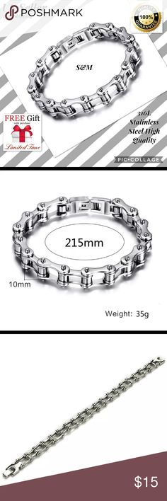 "Stainless steel bracelet men biker chain QW punk Punk Stainless Steel Bracelet Men Biker Bicycle Motorcycle Bracelet  Feature 100% brand new and high quality This product is made of stainless steel,so it would not fade and deformed. Easy to attract people's eyes with this special bike chain design. It does not oxidize and will be very durable. And it suits all occassions. It is also a perfect as a gift. Length: 21.5cm/8.5""    Width: 1cm/0.39""   Color: Silver Material: Stainless steel…"