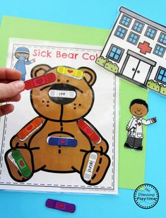 Sick Bear Color Matching Bandaids - Community Helpers Activity for kids.