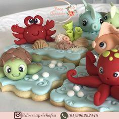Galletas Cookies, Cupcake Cookies, Ocean Cupcakes, Biscuit Decoration, Biscuits, Mermaid Cookies, One Smart Cookie, Fondant Figures, Baby Shark