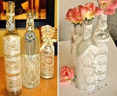 Empty glass bottles are trashed every other day in most homes. But if you keep them and utilize them for decor, then you can save a few bucks as you won't Empty Glass Bottles, Bottle Images, Diy Home Decor On A Budget, Wine Bottle Crafts, Fabric Flowers, Diy Wedding, Projects To Try, Diy Crafts, Crafty