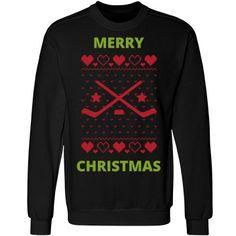 Hockey merry christmas | Custom fun ugly hockey merry christmas sweater.