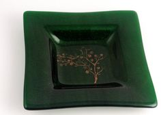 Fused Glass Serving Dish in Aventurine Green by fostersbeauties, $35.00