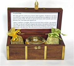 Gift of Kings Incense Box. Contains Frankincense, Myrrh, Incense Burner, Charcoal and a Gold Leaf. http://www.worldtravelart.com/Gift_of_Kings_Frankincense_and_Myrrh_Chest_p/9993-2012.htm