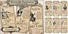 Pride And Prejudice Labels by VectoriaDesigns