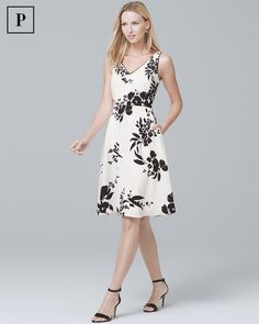 816645cc0e206a Women's Petite Floral-Print Soft Dress by White House Black Market White  Outfits, Dress
