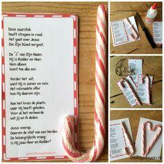 Het Evangelie uitleggen m.b.v. een rood witte zuurstok. Ook leuk om uit te delen of op een kerstkaart. Gedichtje staat in PDF bestand om uit te printen.